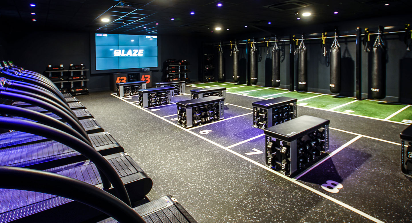 Blaze studio with running, strength and combat stations